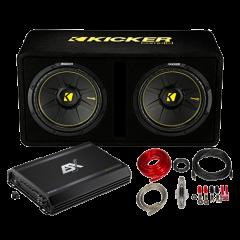 """Kicker / ESX 2x12"""" komplett basspakke"""