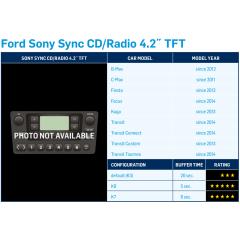 """DAB + adapter Ford Transit Connect 2014-> med Sony radio og 4,2"""" og farge display (Ferdig programmert Dension DAB+U)"""